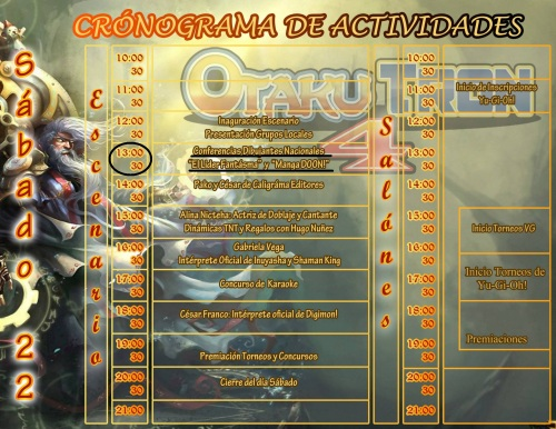 Programa de la OT 4 el sábado (cabe acotar que las actividades se hicieron fuera de horarios fijados).