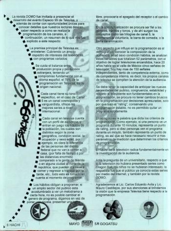 """La importancia de los fanzines alcanzó tal grado, que eventos como el recién finado """"Espacio"""", organizado por la empresa Televisa, representó una oportunidad para complementar los esfuerzos del público para enterarse de lo que estaban viendo en sus pantallas. [Imagen: DOMO #55 - Mayo, 1999]"""