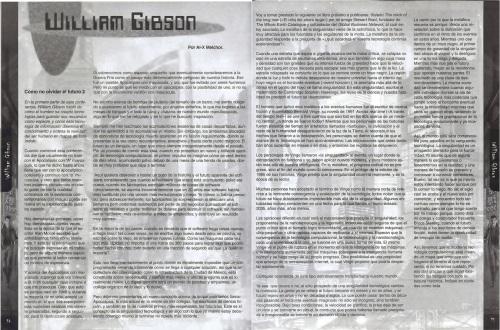 Segunda parte de una entrevista a William Gibson durante una visita a la Ciudad de México. [Imagen: Plan B, año 4, #0 - Julio, 1999]